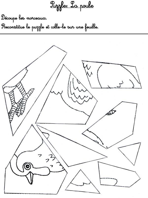 Jeu imprimer activites maternelle paques puzzle poule for Puzzle a colorier gratuit