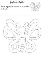 Jeu Graphisme: Repasse sur les pointillés et colorie le papillon
