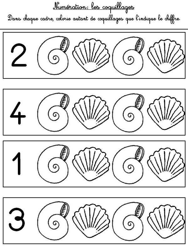 Assez Jeu à imprimer Activites maternelle Ete : Numération 1 à 4  TQ51