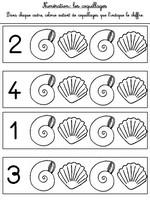 Jeu Numération 1 à 4 : coquillages
