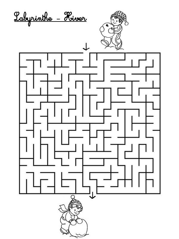 Jeu imprimer activites maternelle hiver labyrinthe hiver 1 - Jeu labyrinthe a imprimer ...