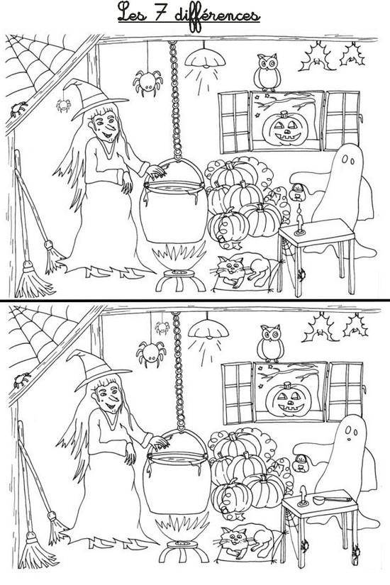 Jeu A Imprimer Activites Maternelle Halloween Les 7 Differences 5