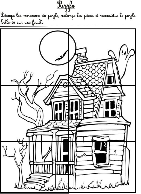 Jeu imprimer activites maternelle halloween puzzle de for Ameublement de la maison