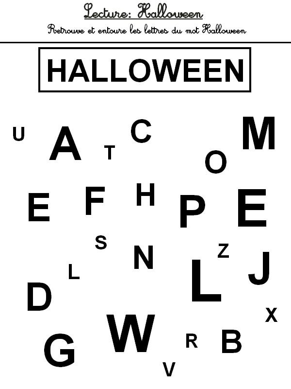 jeu imprimer activites maternelle halloween lecture retrouve les lettres du mot hallowen 9. Black Bedroom Furniture Sets. Home Design Ideas