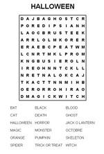Mots cachés à imprimer sur le thème d'halloween